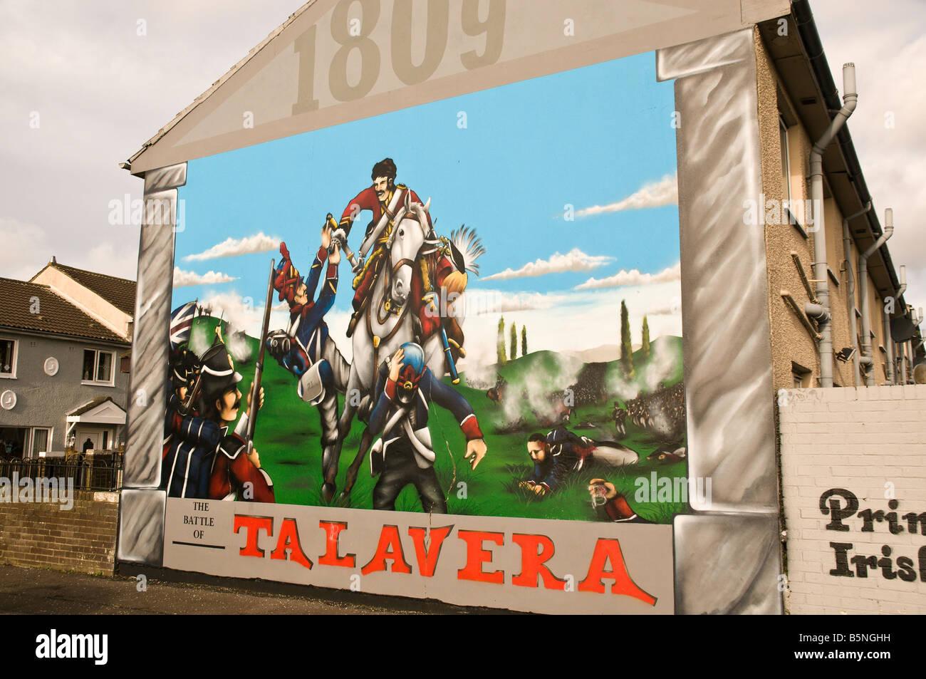 Loyalist/Unionist mural, '1809, The Battle of Talavera' - Stock Image