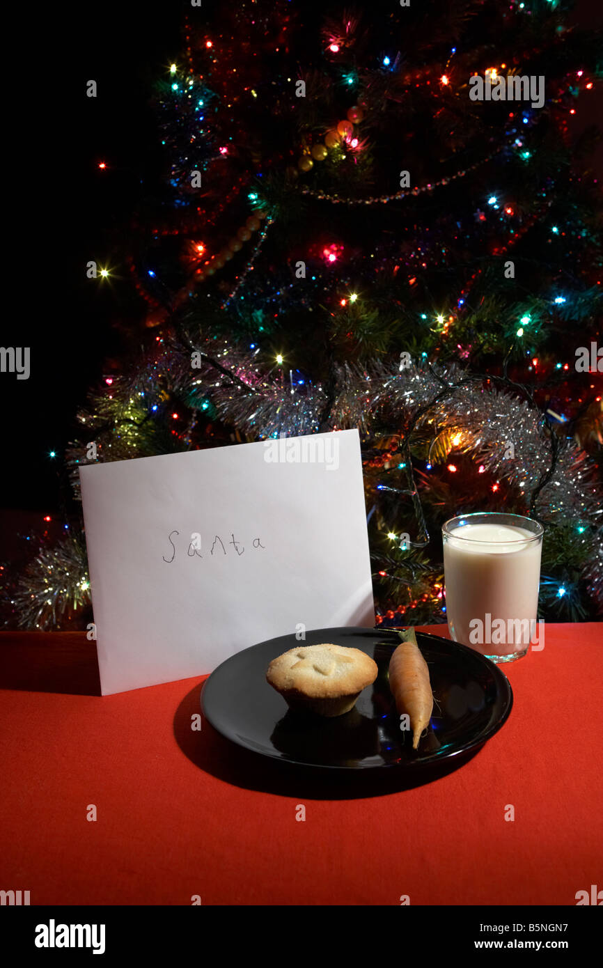 Childs letter to santa left out on christmas eve with mince pie childs letter to santa left out on christmas eve with mince pie carrot and glass of milk in front of christmas tree spiritdancerdesigns Gallery