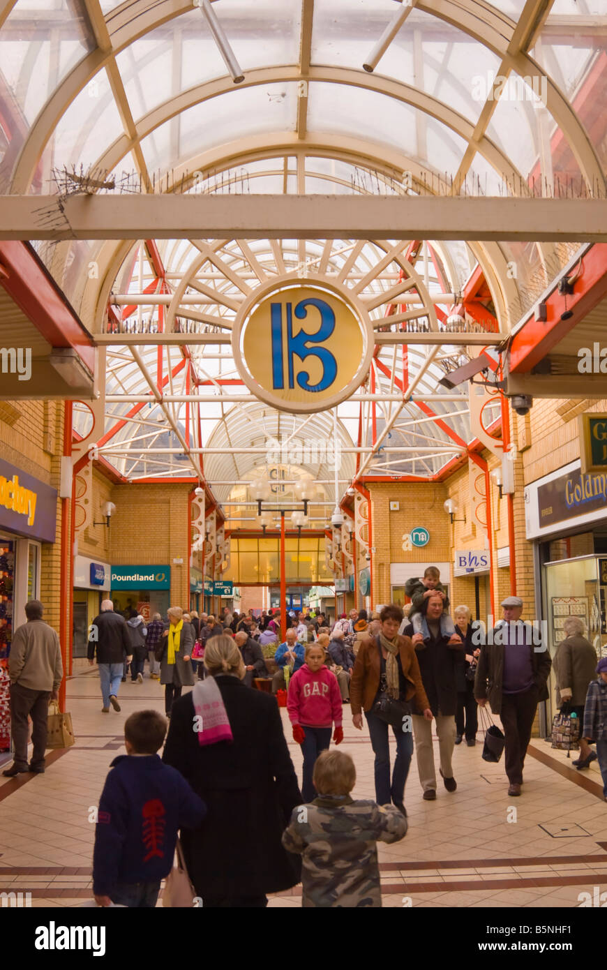 Shoppers shopping in the Britten Centre in Lowestoft,Suffolk,Uk - Stock Image