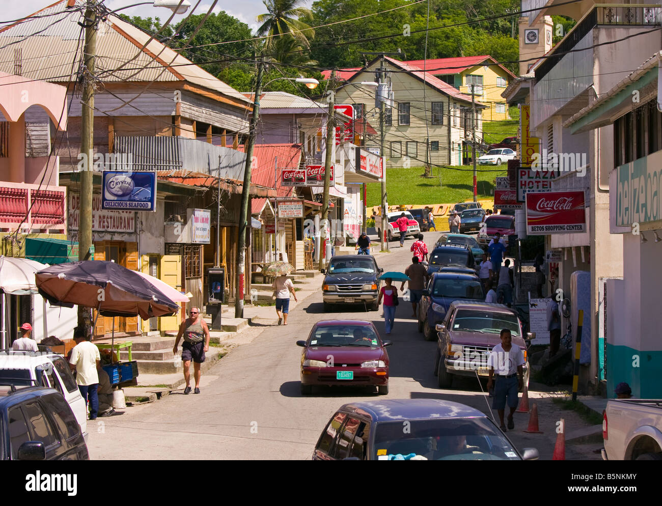 SAN IGNACIO BELIZE Bustling street scene on Burns Avenue - Stock Image