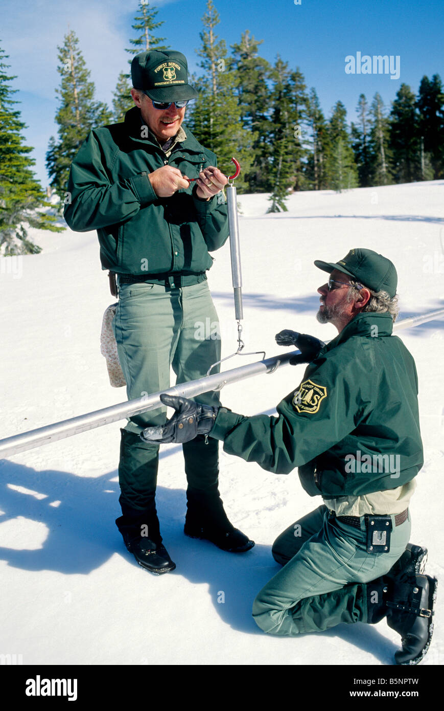 US Forest Service  performing snow survey. - Stock Image