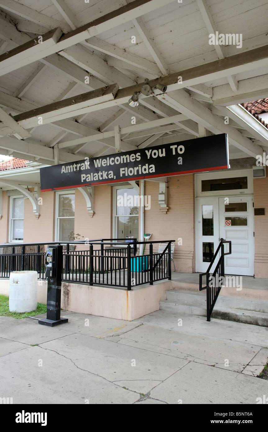 Amtrak Railroad station building at Palatka northern Florida America USA - Stock Image
