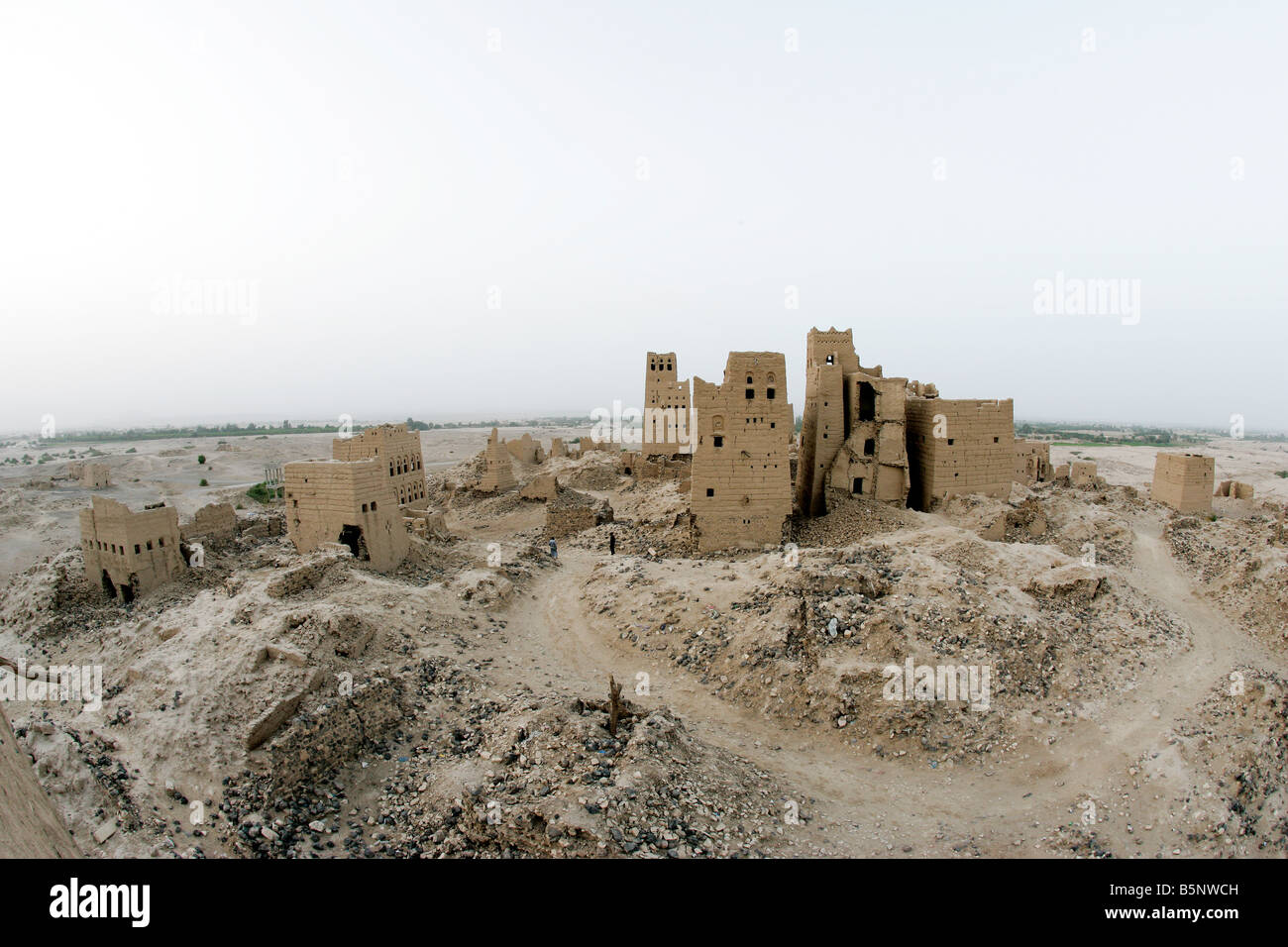The ruins of Old Marib the Historical home of the Queen of Sheba Yemen - Stock Image
