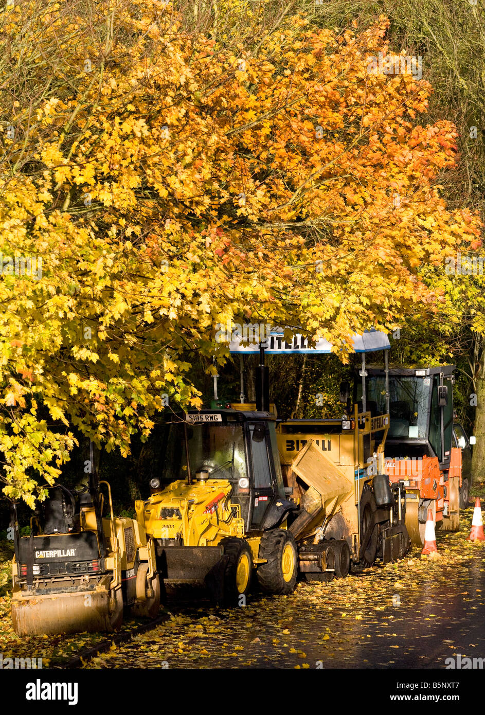 Road construction machinery under trees showing their autumn colors Englnd UK - Stock Image