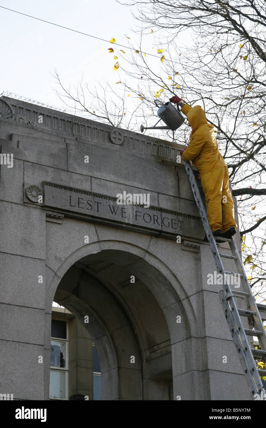 Council Worker Cleaning The Cenotaph in Bolton Lancashire UK - Stock Image