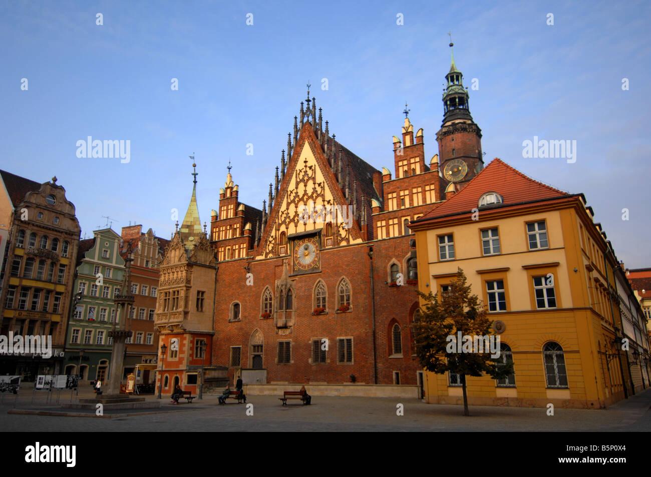Town Hall, Rynek Square, Wroclaw, Poland - Stock Image
