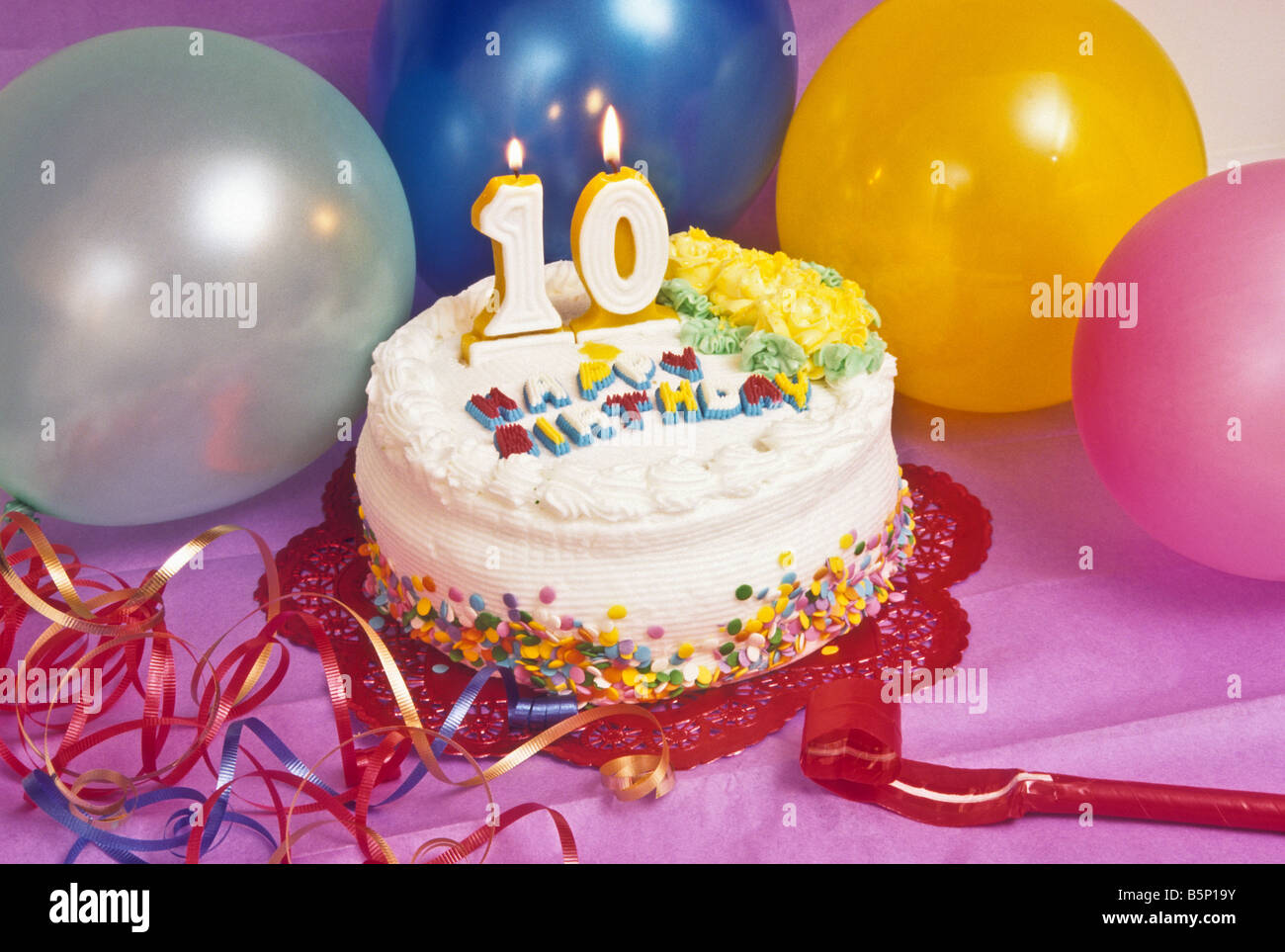 Groovy Birthday Cake With Year 10 Candle Burning Stock Photo 20767655 Funny Birthday Cards Online Elaedamsfinfo