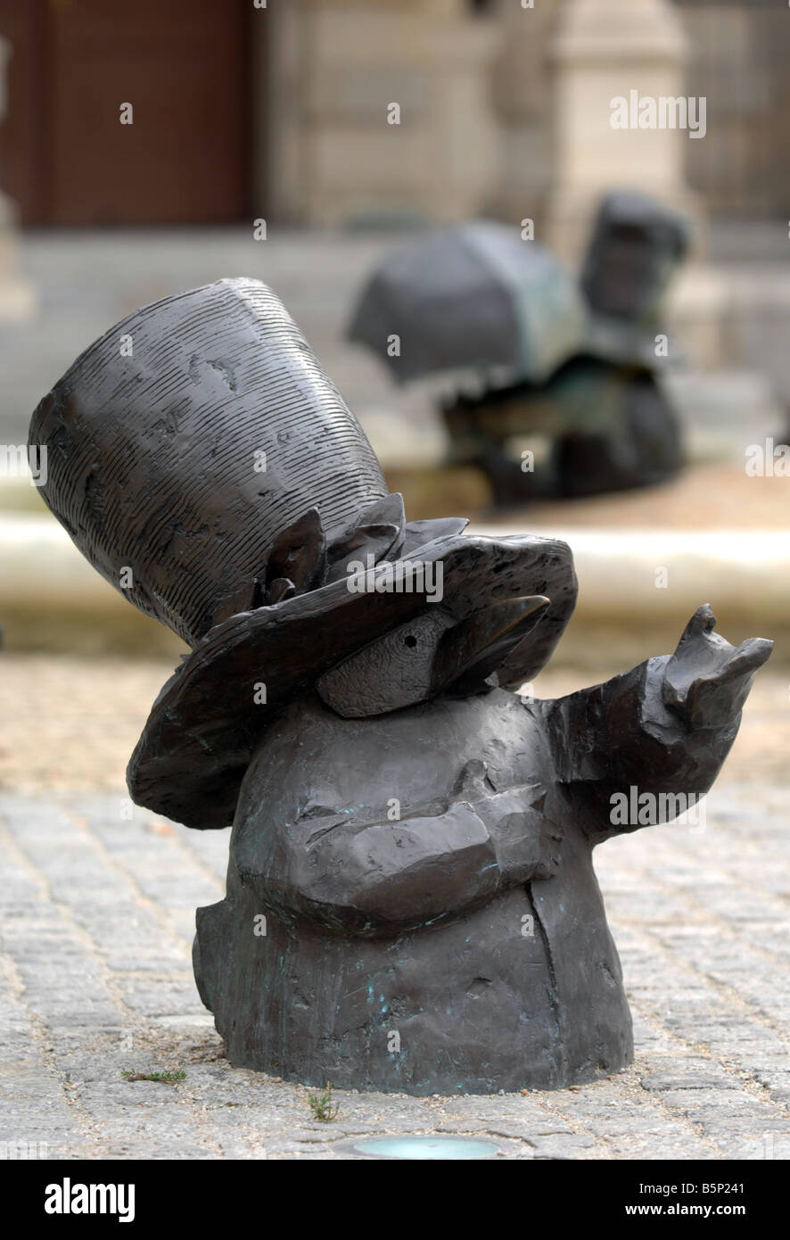 One of the many gnome statues around the city of Wroclaw, Poland - Stock Image