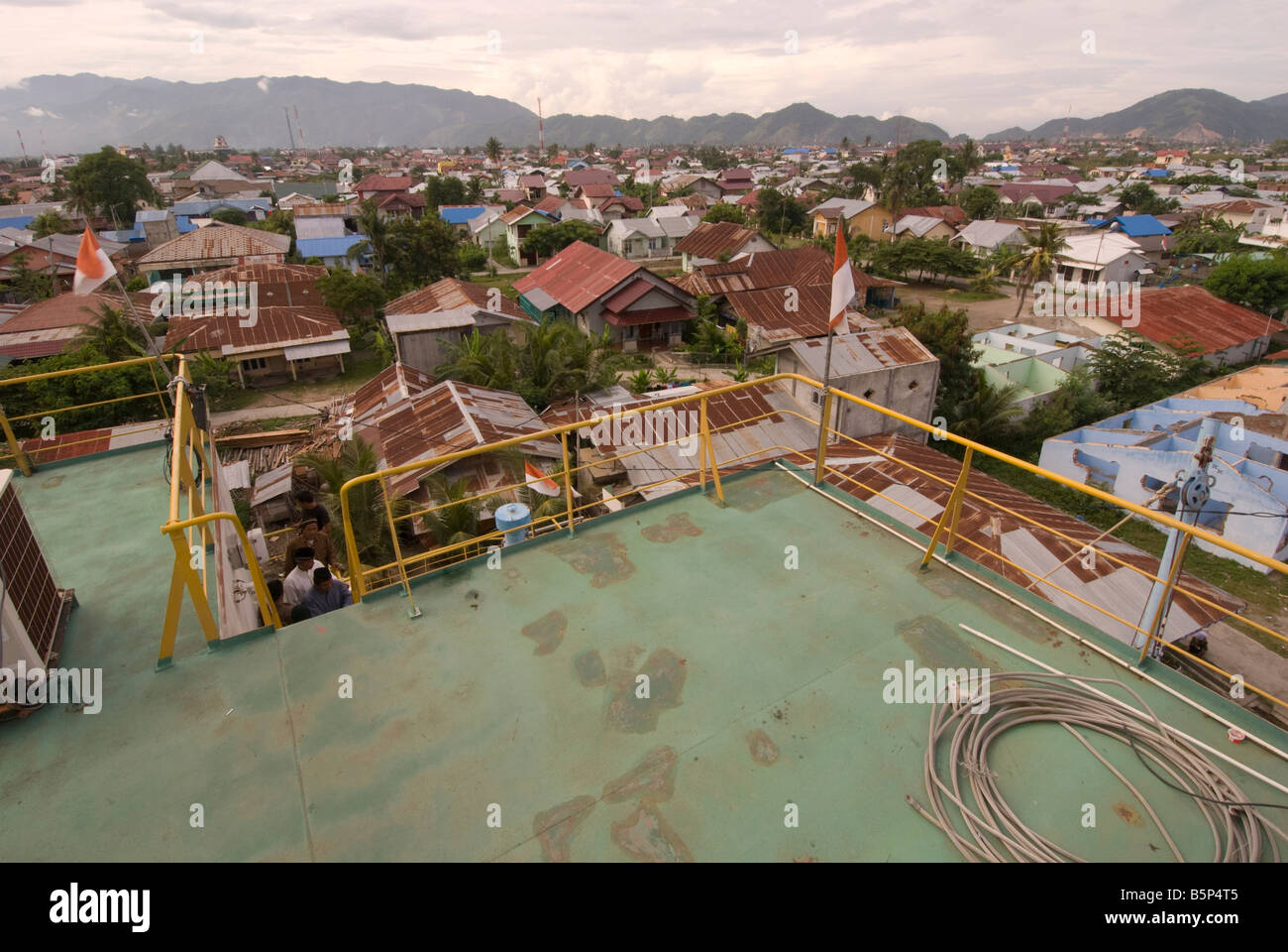 View over Banda Aceh from the top of the electric generator ship dumped inland by tsunami. Stock Photo