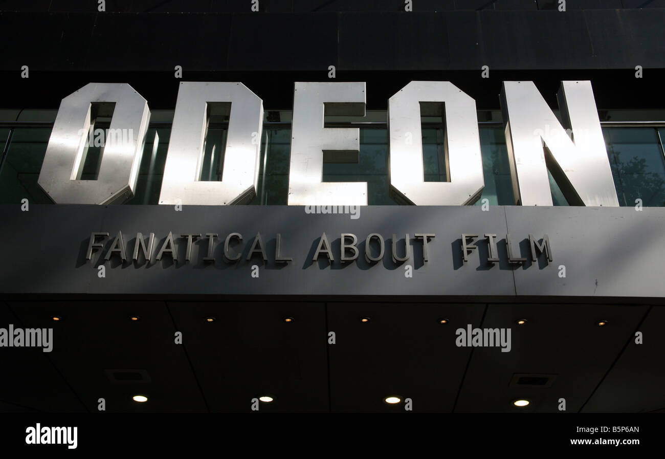 Odeon cinema (detail), Leicester Square, London - Stock Image