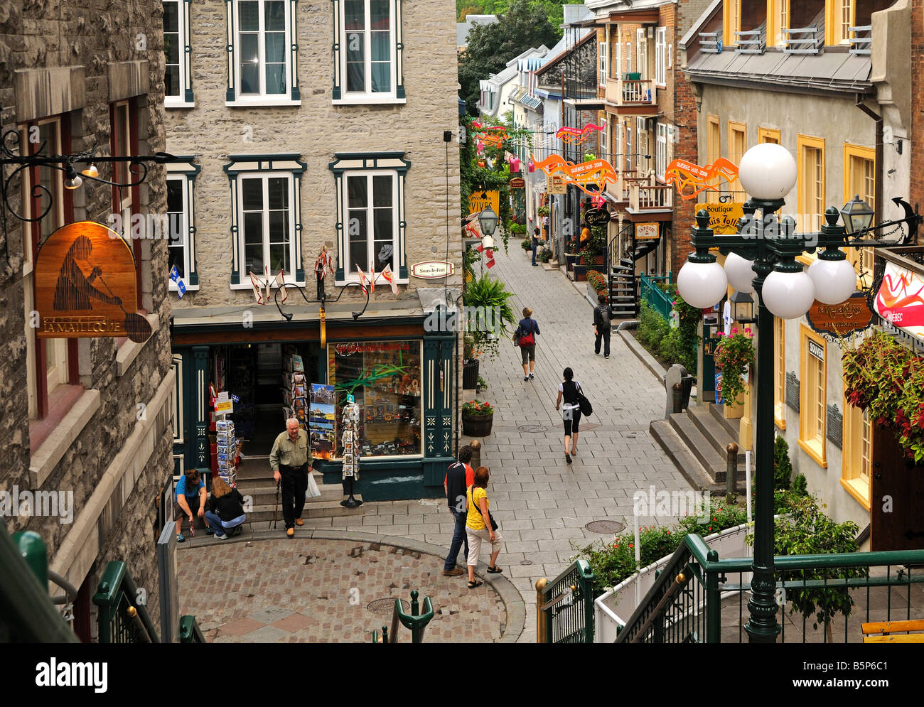In the Rue du Petit Champlain in the Old Town of Quebec, Canada - Stock Image