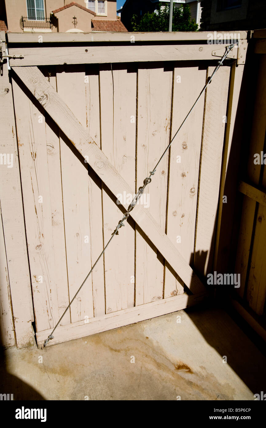 Wooden gate with wire support with turnbuckle & Wooden gate with wire support with turnbuckle Stock Photo: 20771654 ...