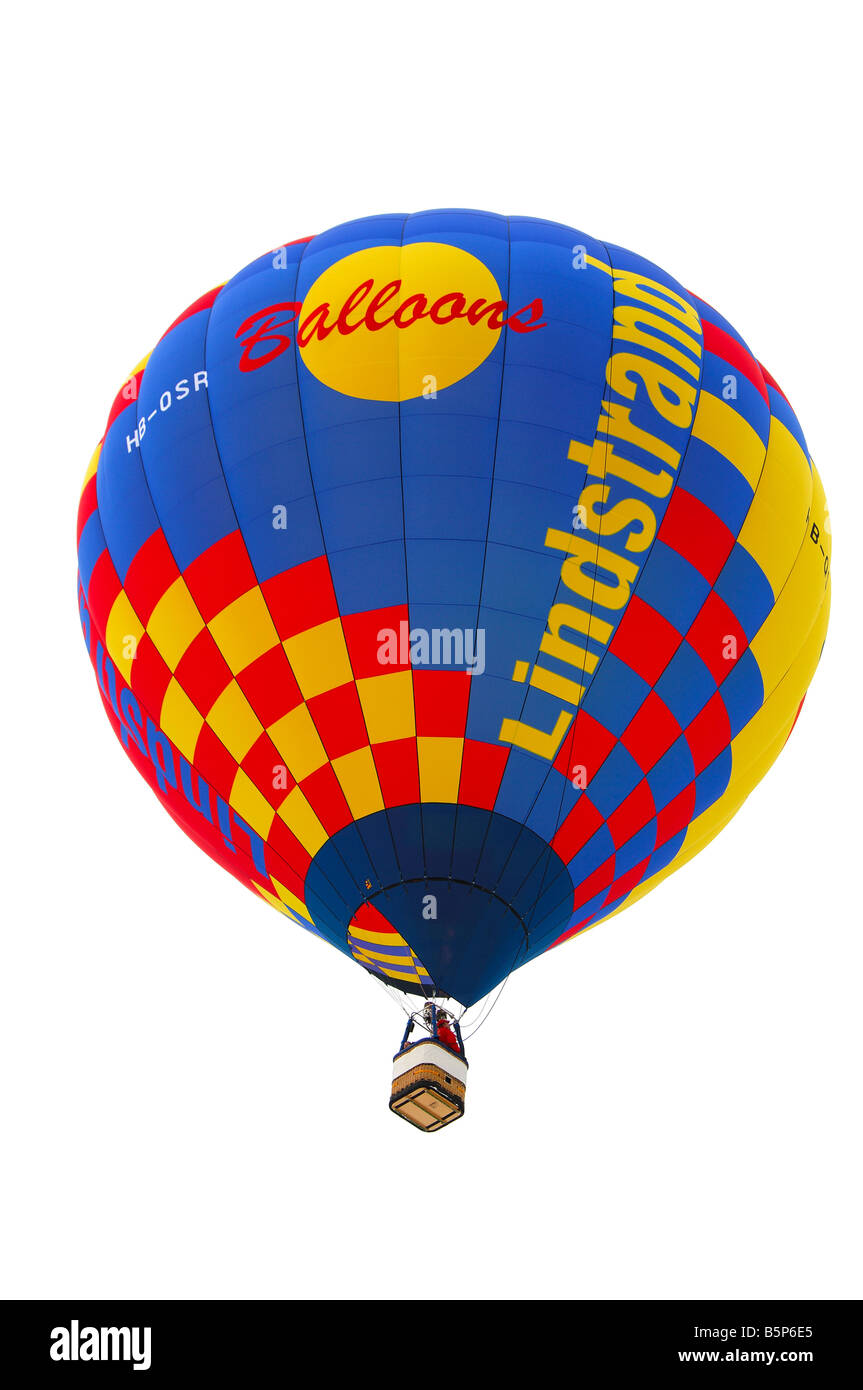 Lindstrand hot air balloon in the air, International Balloon Festival, Chateau d Oex, Switzerland Stock Photo