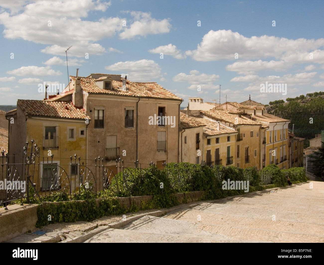 A row of Houses in the Spanish City of Cuenca, La Mancha, Spain - Stock Image