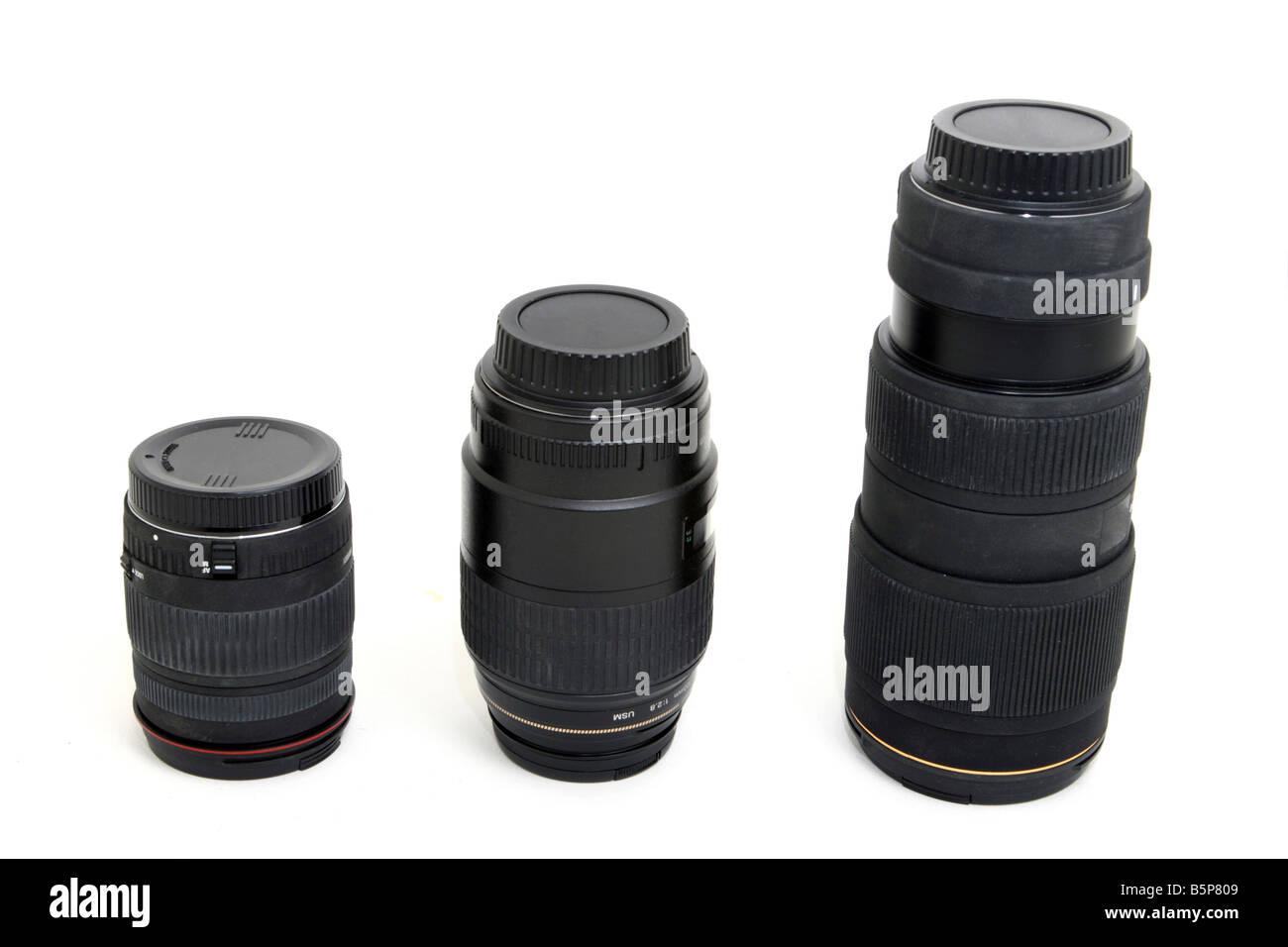variation of auto photographic camera lenses isolated on white Stock Photo