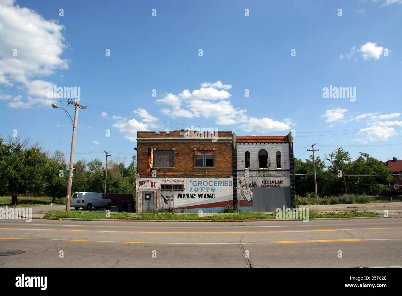 Boarded up businesses in Detroit Michigan USA - Stock Image