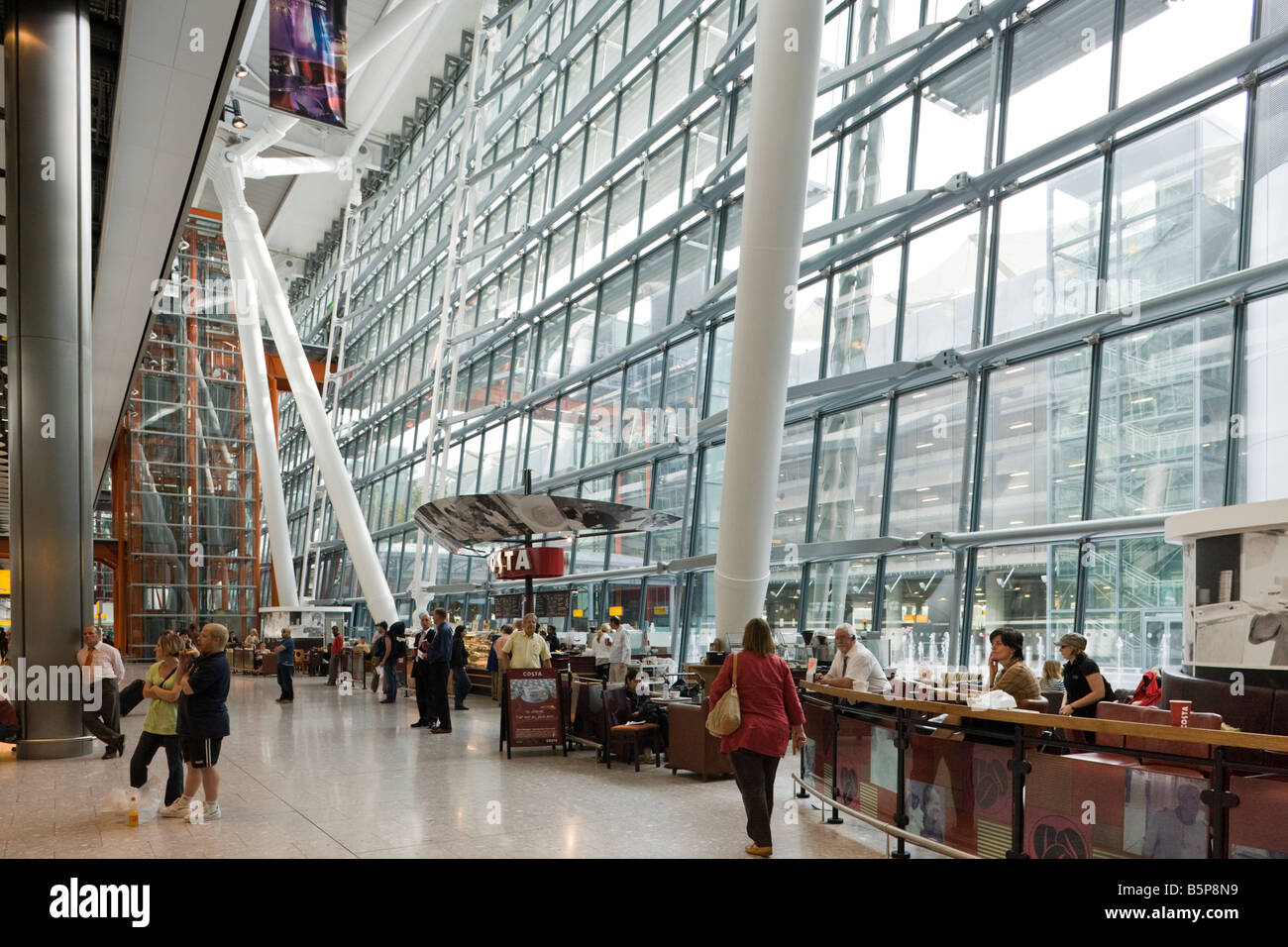 Costa Coffee cafe, Terminal 5, Heathrow, London, England - Stock Image