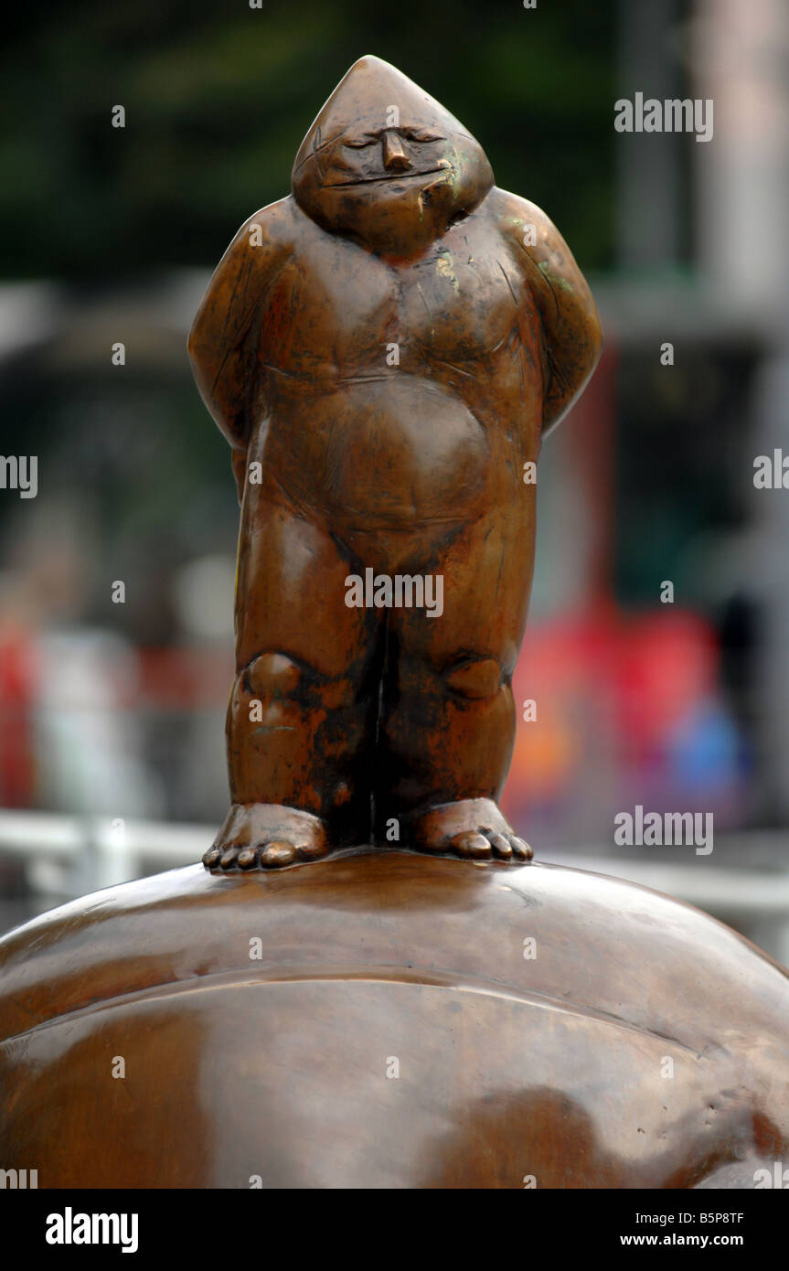 Gnome statue in Wroclaw, Poland, one of the many gnome statues around the city of Wroclaw, Poland - Stock Image
