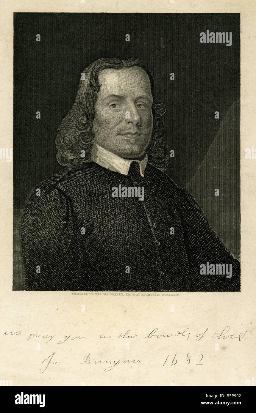 Antique engraving of John Bunyan. - Stock Image