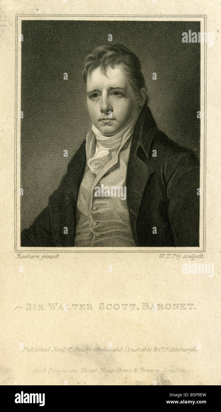 Antique engraving of Sir Walter Scott. - Stock Image