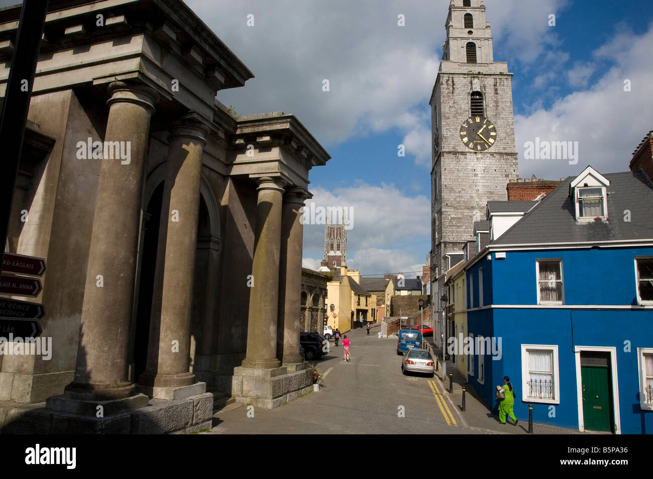 The 18th Century Butter Exchange and St Anne's Church Showing the clock called the 'Four Faced Liar', - Stock Image
