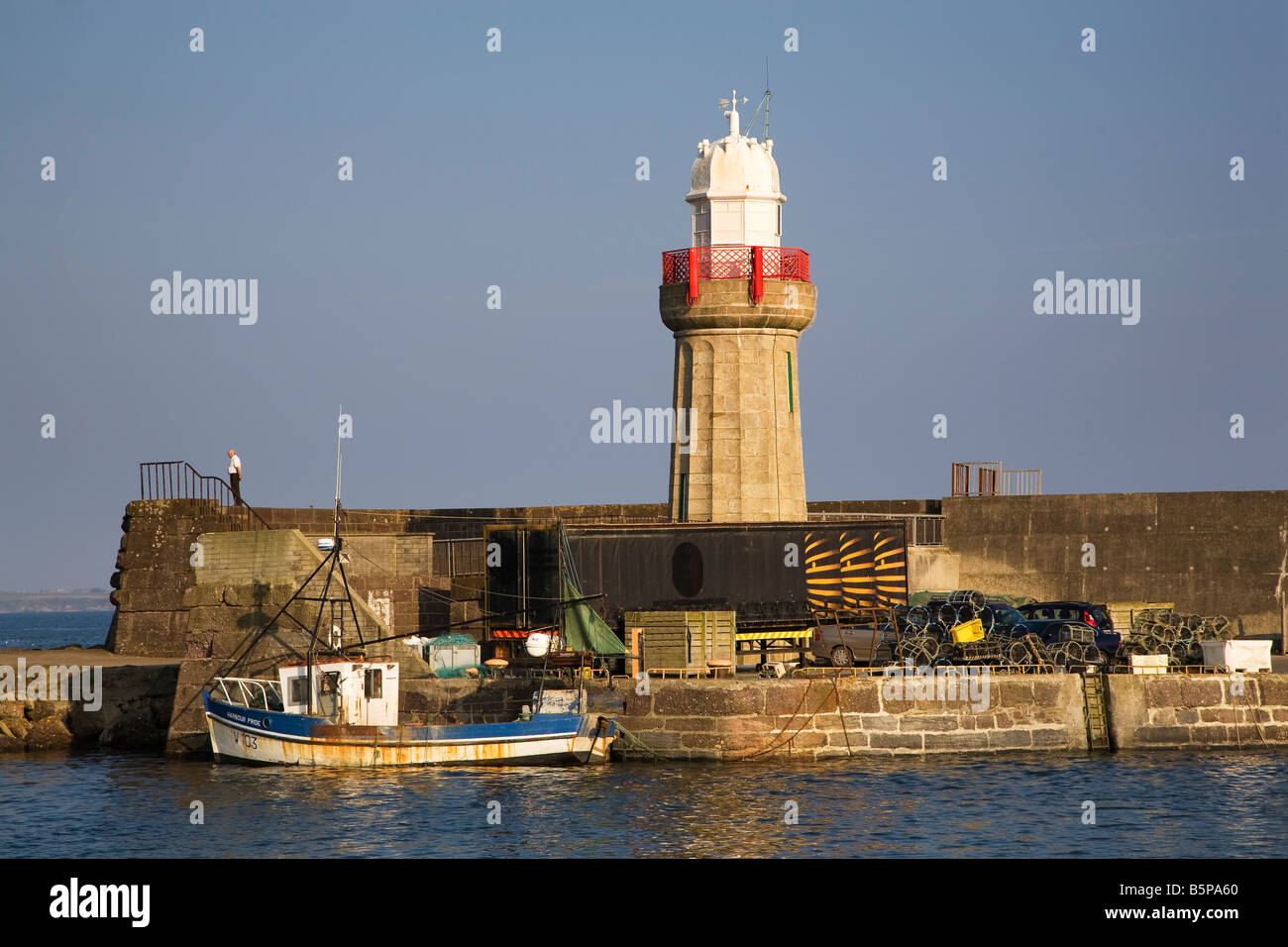 Lighthouse in  the Harbour built in 1815 by Alexander Nimmo, Dunmore East, County Waterford, Ireland - Stock Image