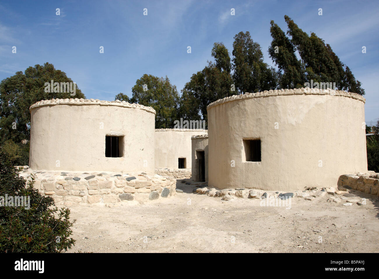 reconstructed of a neolithic settlement round stone houses choirokoitia a UNESCO world heritage site cyprus mediterranean Stock Photo