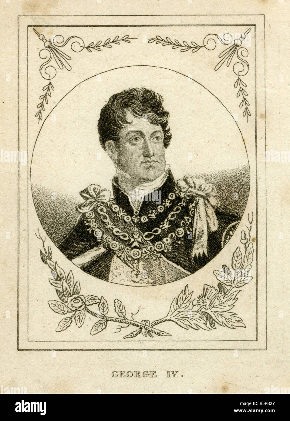 Antique engraving of George IV. - Stock Image
