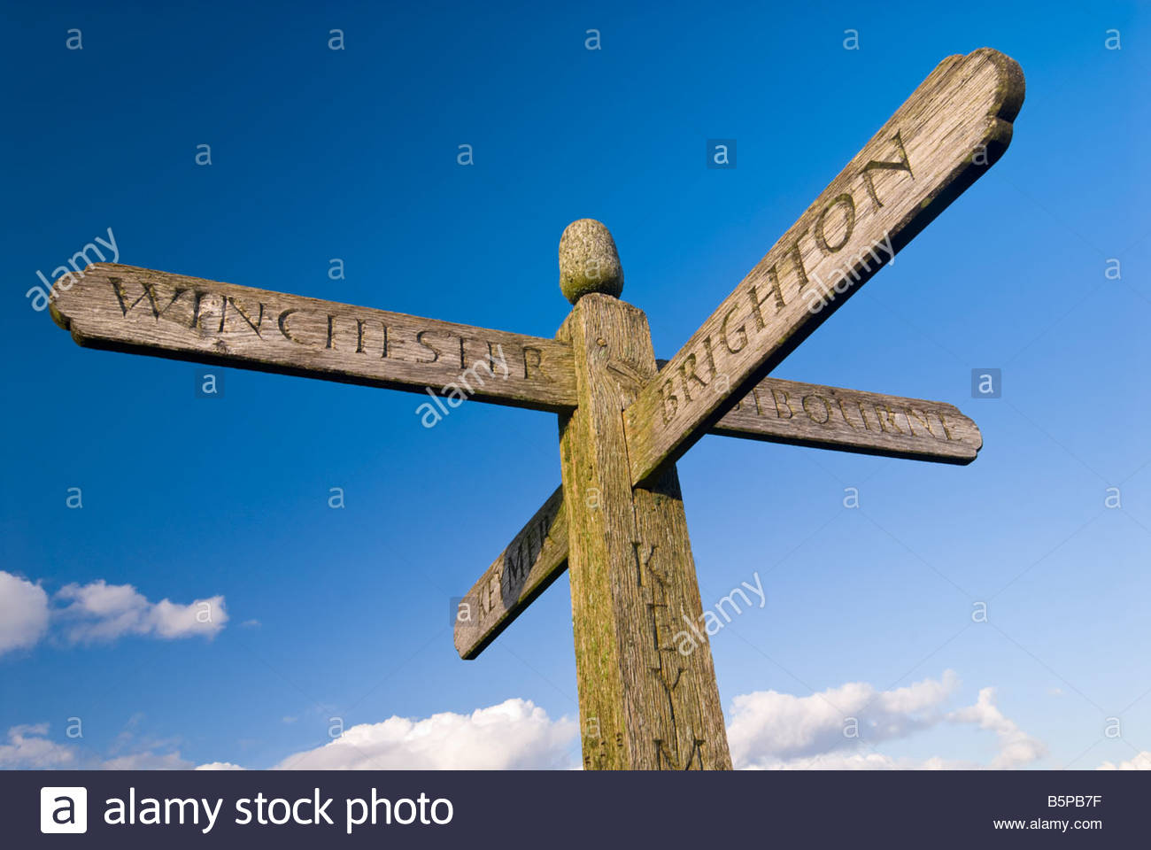 Signpost on the South Downs Way, near Clayton, West Sussex. - Stock Image