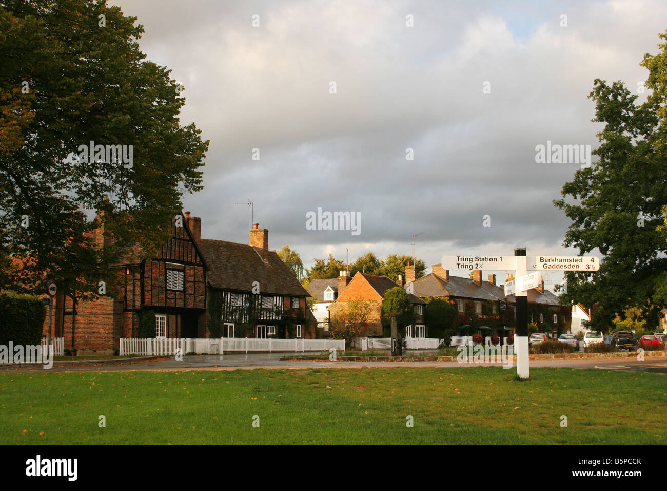 Aldbury National Trust village in Hertfordshire, below the Ashridge Park Estate in the Chilterns - Stock Image
