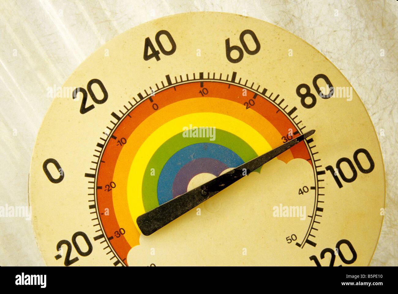 Colorful temperature gauge, fahrenheit & celsius. - Stock Image