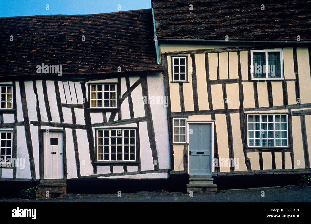 Timbered buildings in Lavenham Suffolk - Stock Image