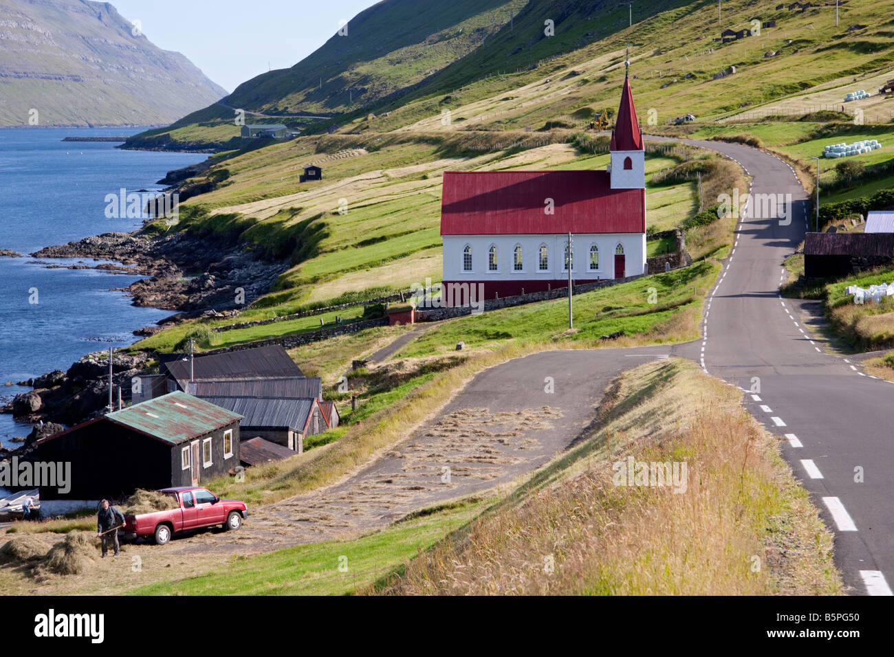 Hùsar village, Kalsoy Island. Faroe Islands - Stock Image