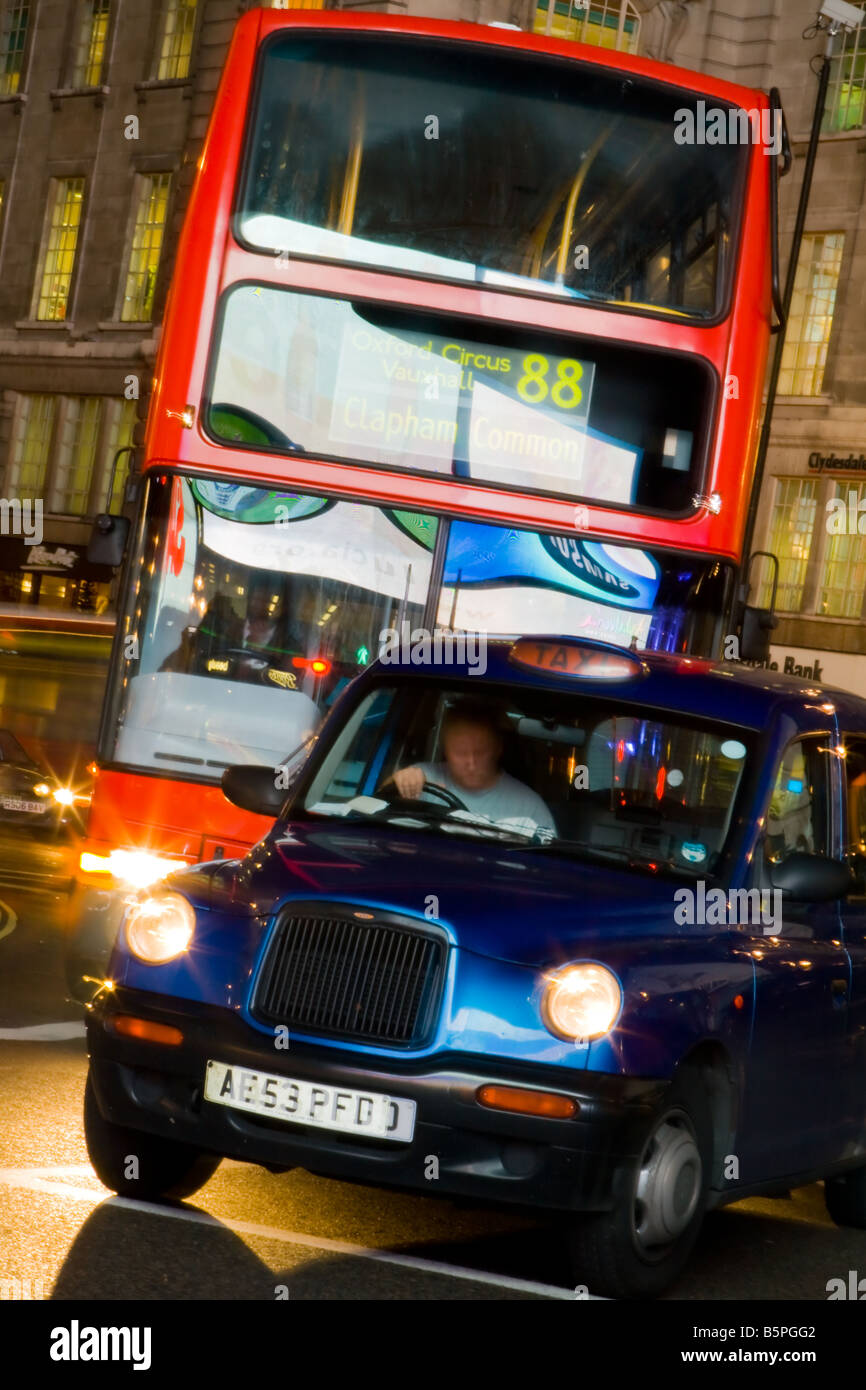 London Bus and Taxi - Stock Image