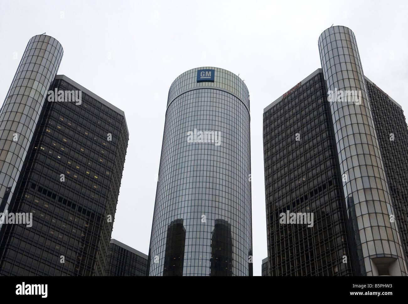 General Motors World Headquarters in Detroit, Michigan. - Stock Image
