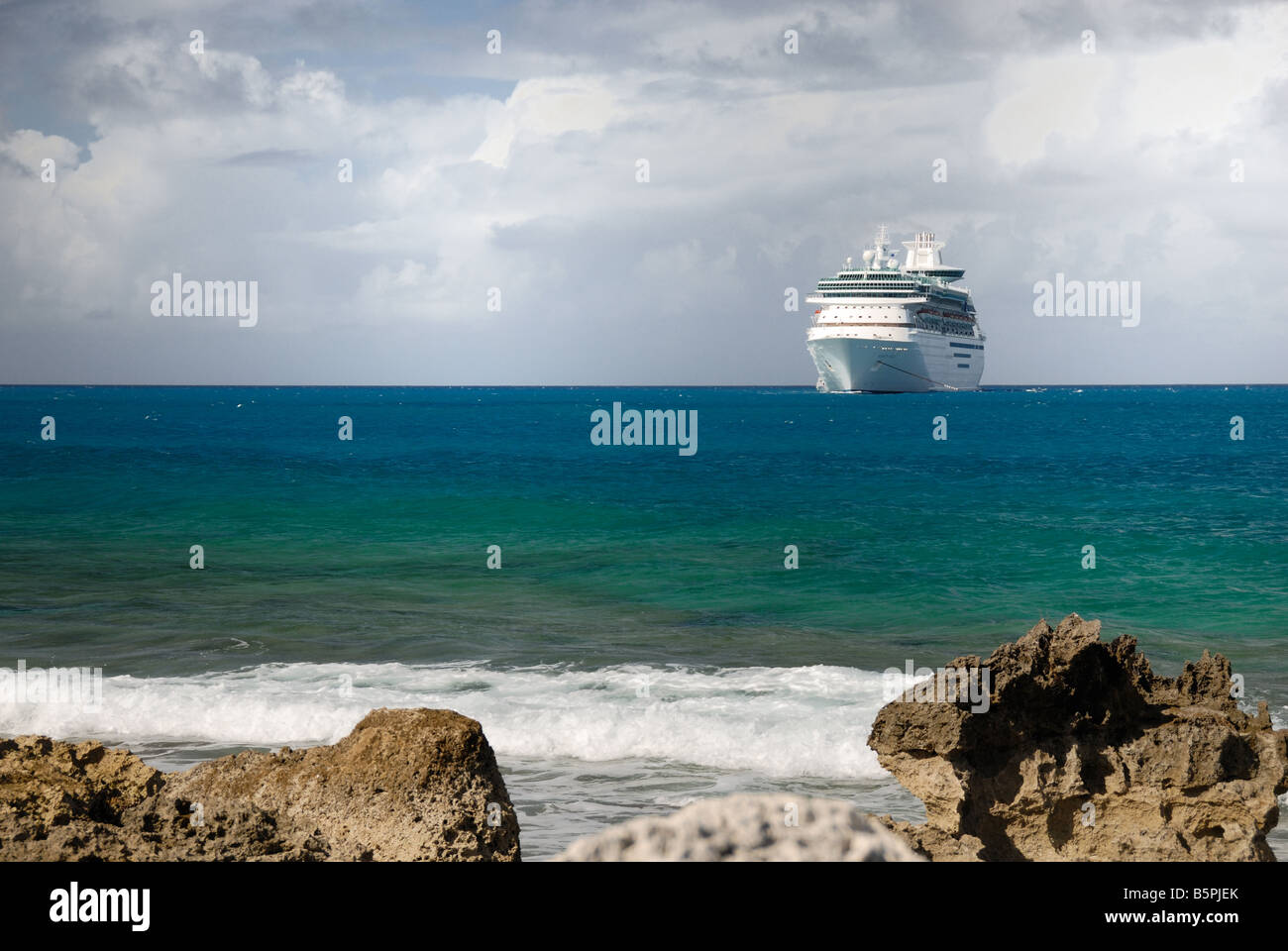 The Royal Caribbean ship Majesty of the Seas is tendered at Little Stirrup Cay, Bahamas. - Stock Image