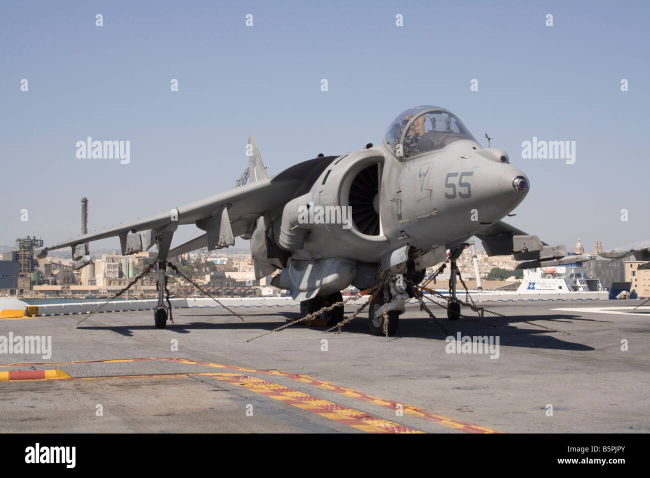 US Marine Corps AV-8B Harrier on board USS Kearsarge Stock Photo