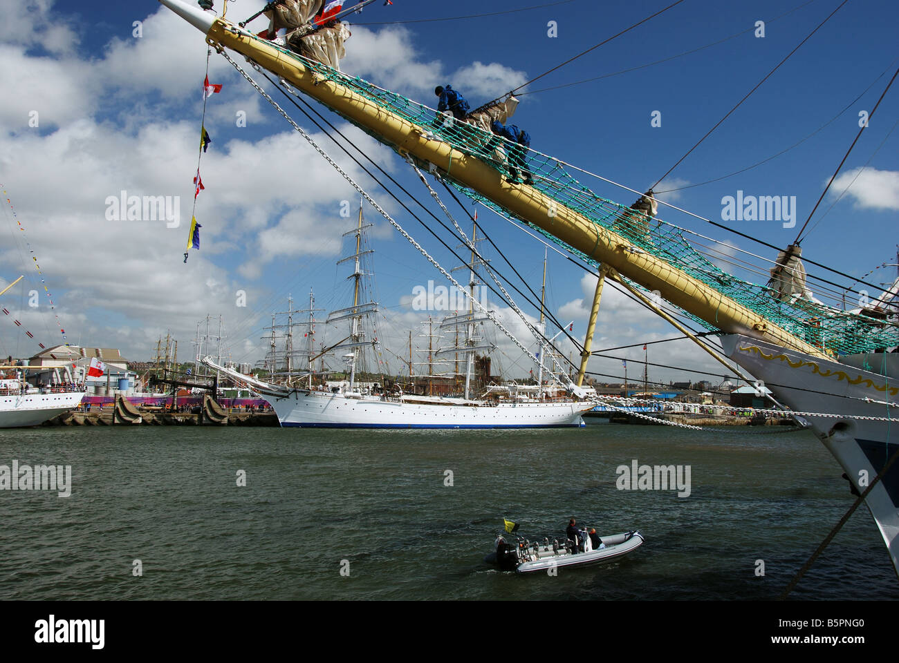 Tall Ships moored at Liverpool prior to the Tall Ships Race - Stock Image