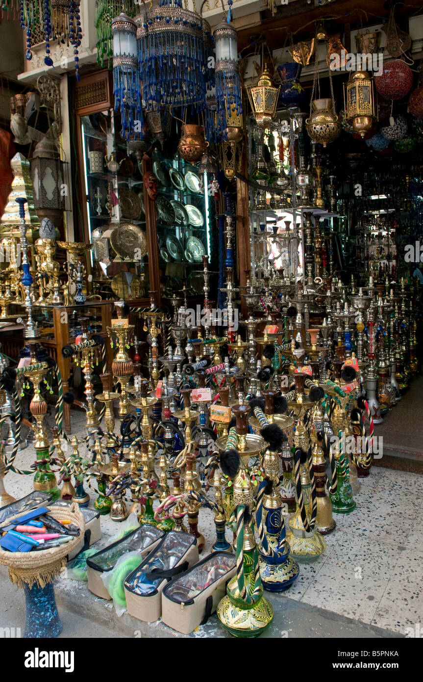 Hookah pipes for sale at Khan el Khalili Bazaar Old city of Cairo Egypt - Stock Image