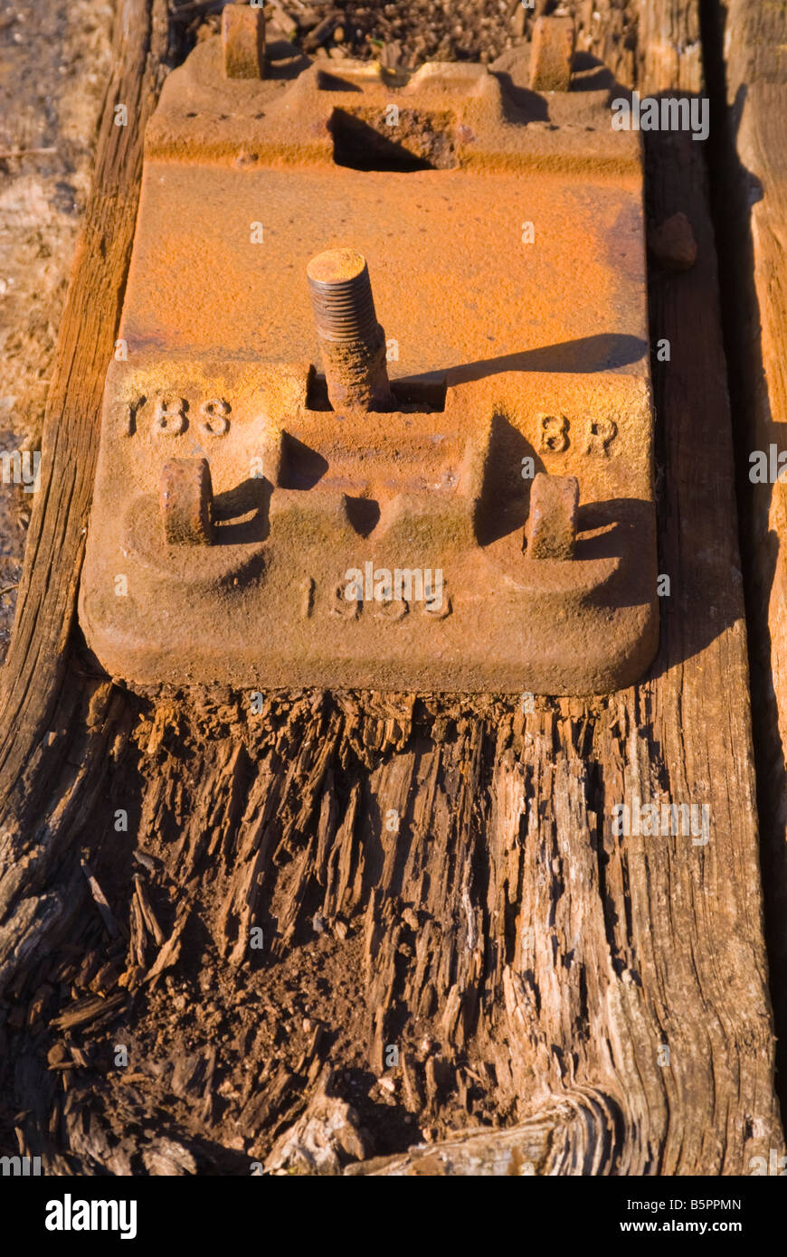 Close up of metal fixing block on british rail train track sleeper - Stock Image