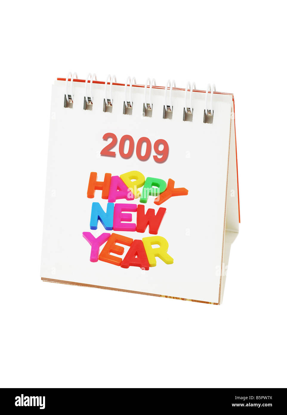 Desktop calendar showing 2009 Happy New Year Stock Photo