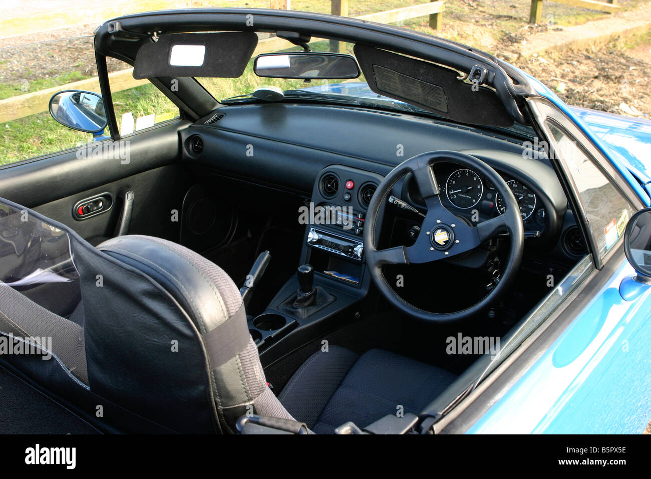 mazda mx5 mk1 2 seater sports car close up of black interior trim stock photo 20787130 alamy. Black Bedroom Furniture Sets. Home Design Ideas