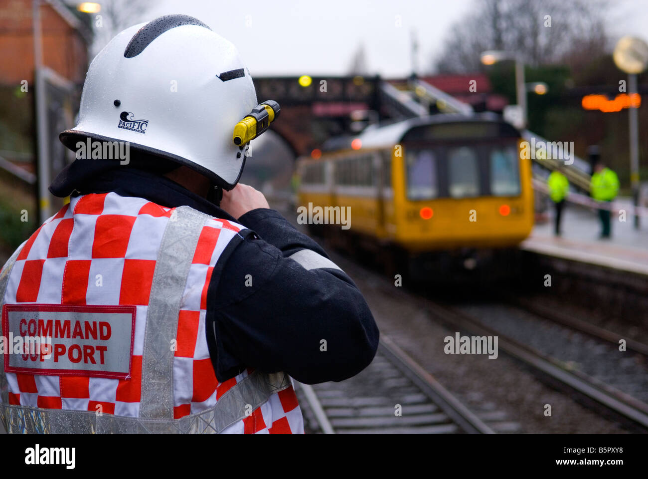 Fire & Rescue Service Command Support officer at Railway Station Incident Stock Photo