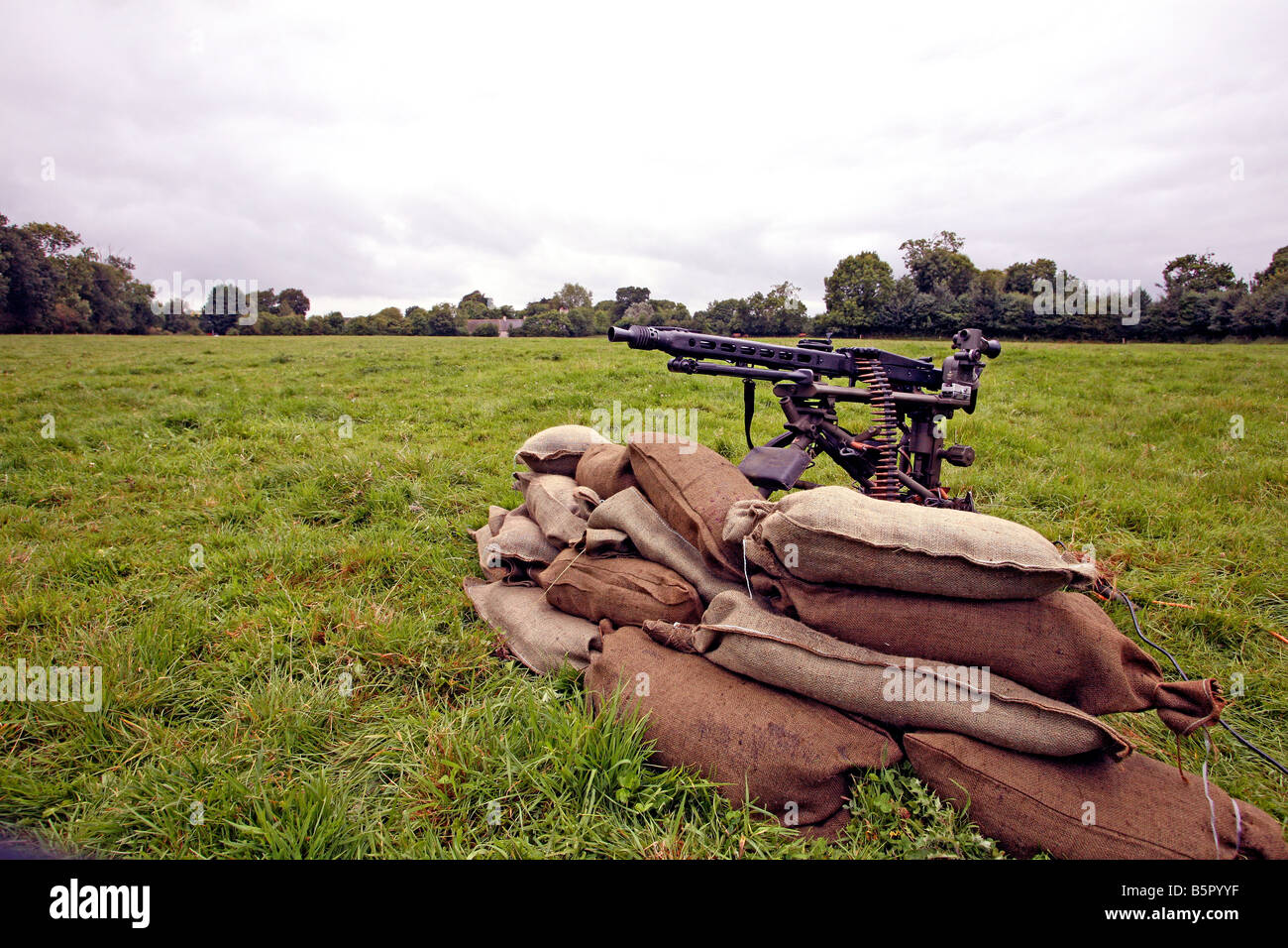German machine gun on the site of the famous 101st Airborne (Band of Brothers) battle on the eve of D Day at Brecourt - Stock Image