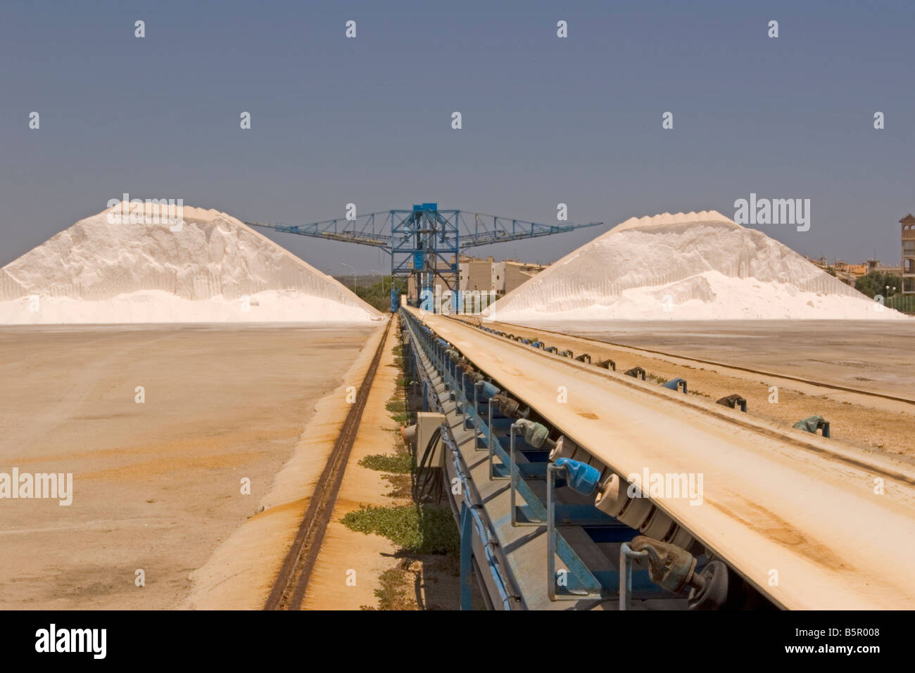 Conveyor Belt Salt Processing Plant Santa Pola Spain Spanish Industry - Stock Image