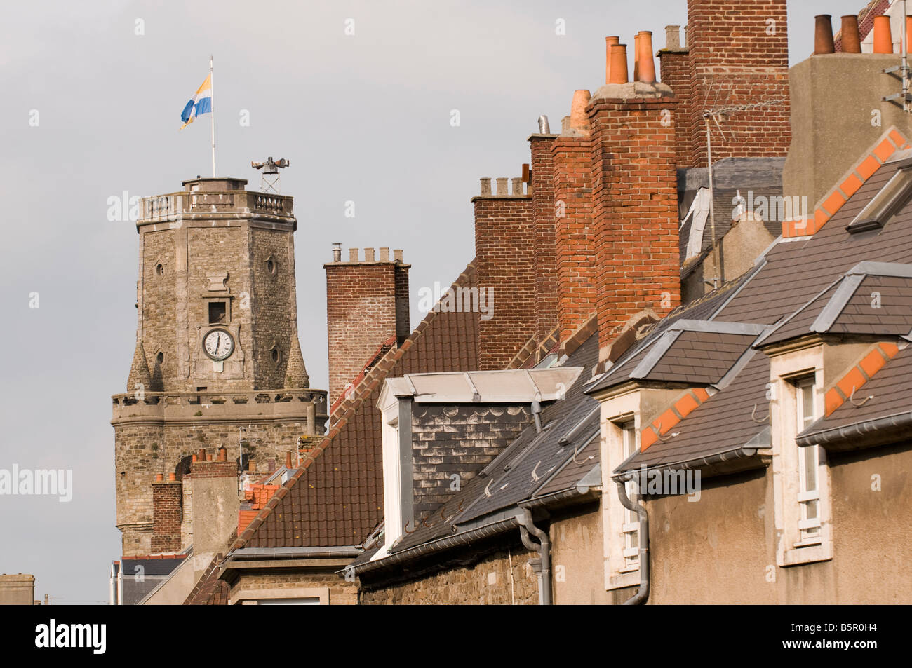 Old Town Belfry Tower and roof tops Boulogne-sur-Mer, Nord-Pas de Calais, France - Stock Image