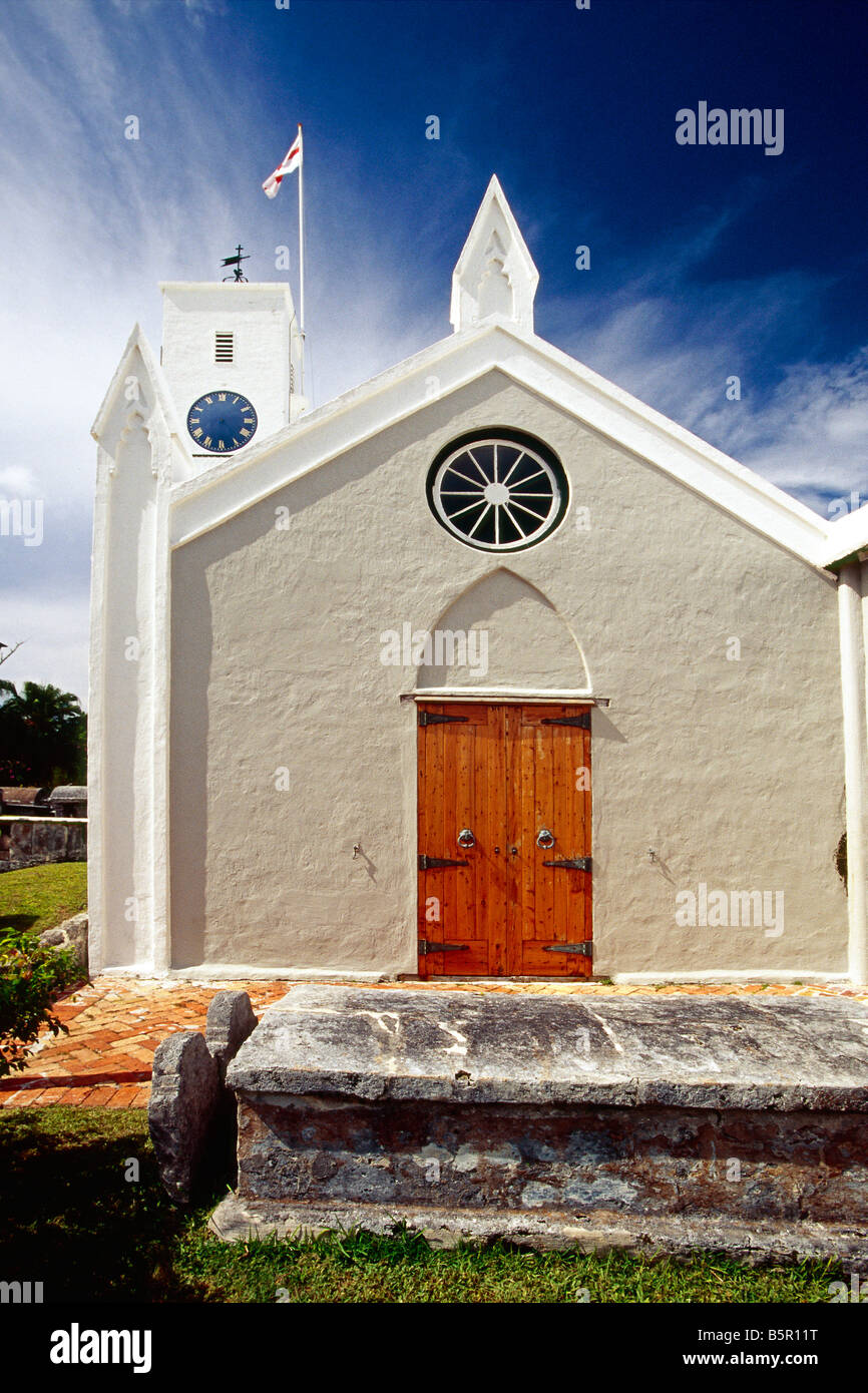 Front View of a Church St Peter' s Church St George Bermuda - Stock Image