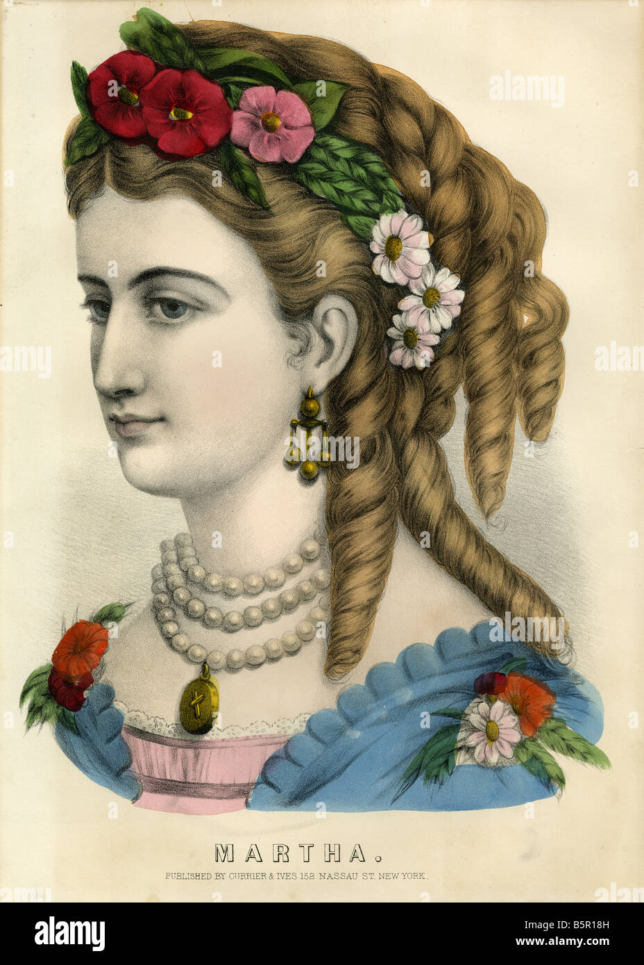 Circa 1840s to 1860s Currier & Ives hand colored lithograph of a woman named 'Martha.' - Stock Image
