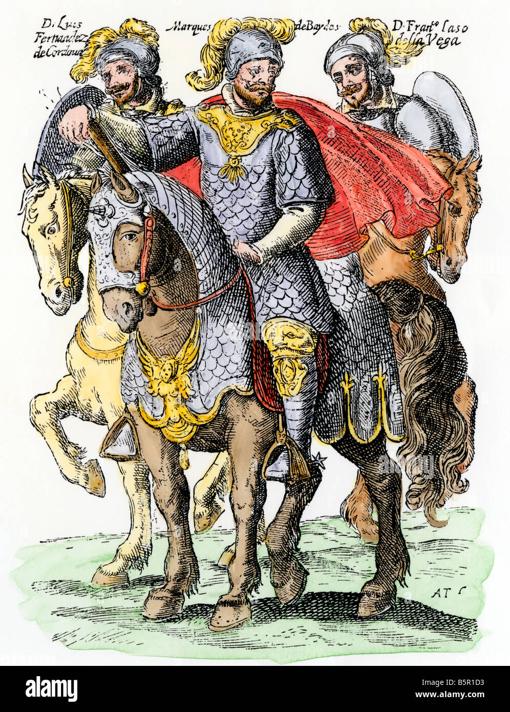 Spanish viceroy and governor of Chile on horseback. Hand-colored woodcut - Stock Image