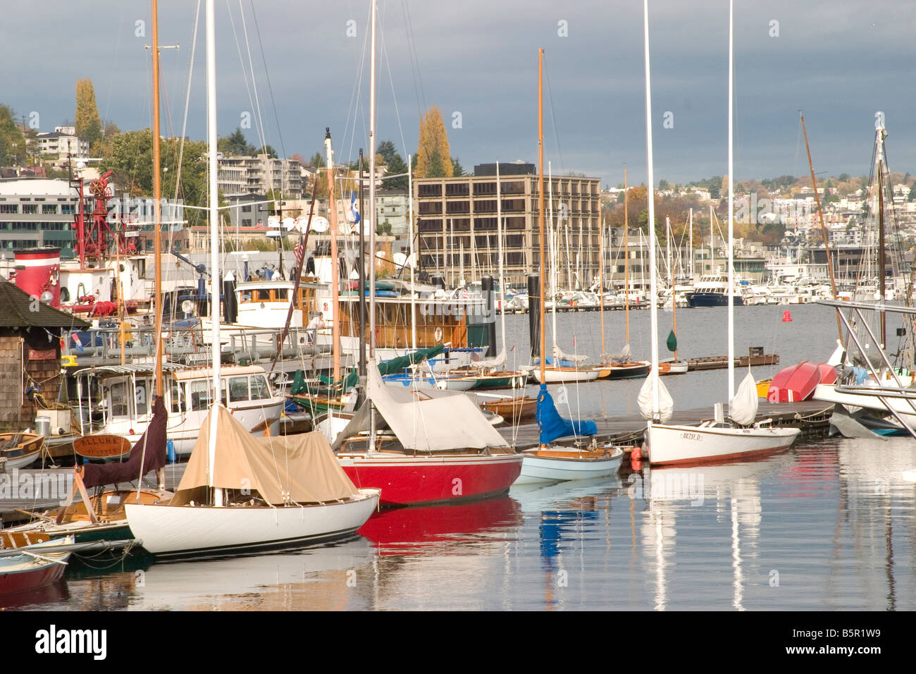 Sailboats in Lake Union - Stock Image